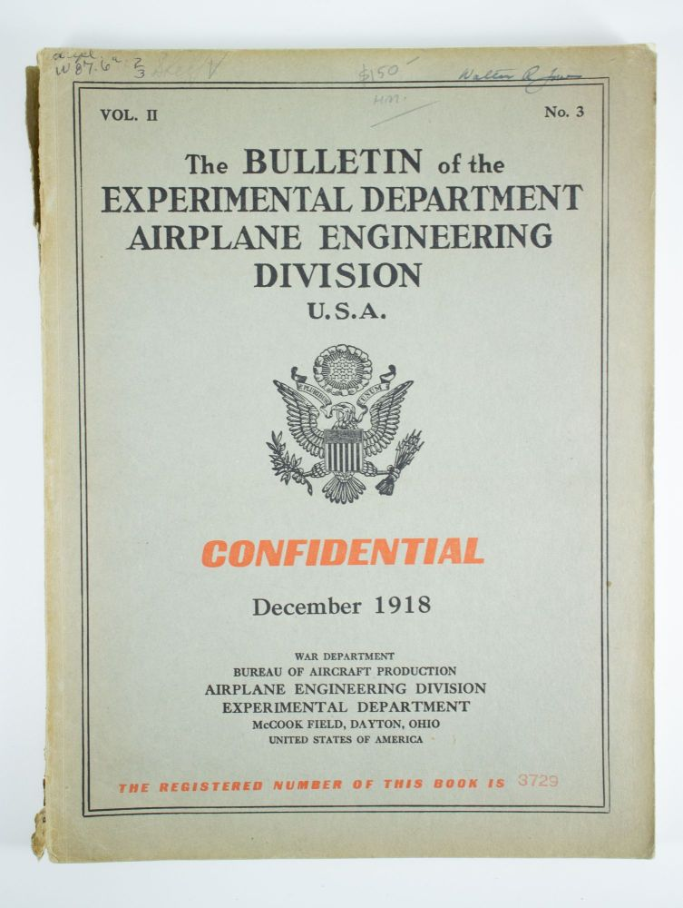 The Bulletin of the Airplane Engineering Department U.S.A.; Volume 2, number 3 for December 1918. War Department Bureau of Aircraft Production.