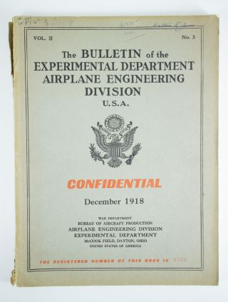 The Bulletin of the Airplane Engineering Department U.S.A.; Volume 2, number 3 for December 1918....